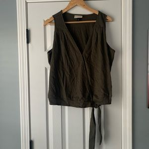 Dark green tank top with tie